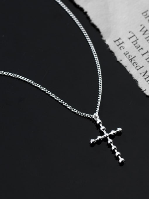Rosh 925 Sterling Silver Cross Minimalist Pendant Necklace 2