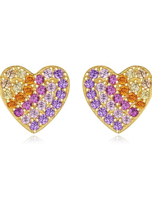 CCUI 925 Sterling Silver Cubic Zirconia Heart Dainty Stud Earring
