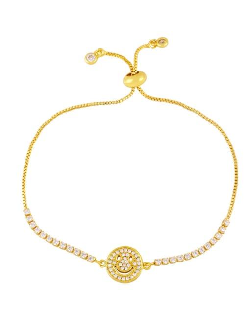 E Brass Enamel Smiley Vintage Bracelet