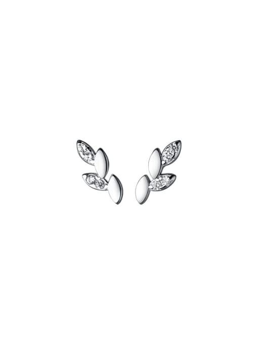 Rosh 925 Sterling Silver Cubic Zirconia Leaf Minimalist Stud Earring 3