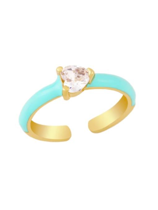 green Brass Enamel Cubic Zirconia Heart Minimalist Band Ring