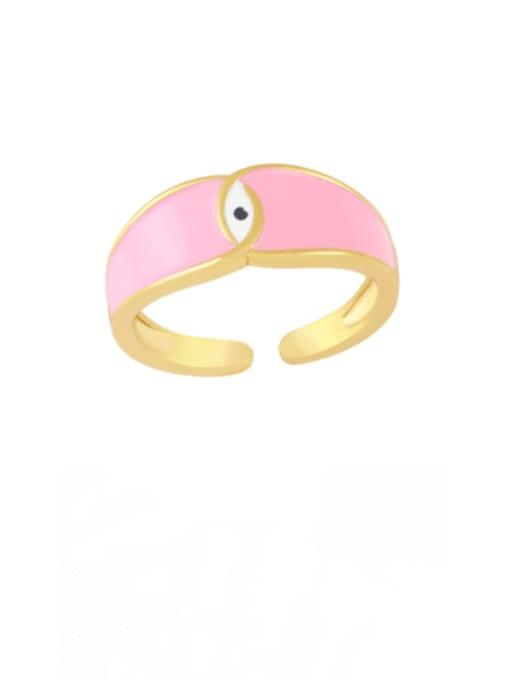 Pink Brass Enamel Evil Eye Minimalist Band Ring