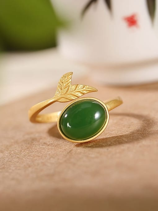 DEER 925 Sterling Silver Jade Leaf Vintage Band Ring 0
