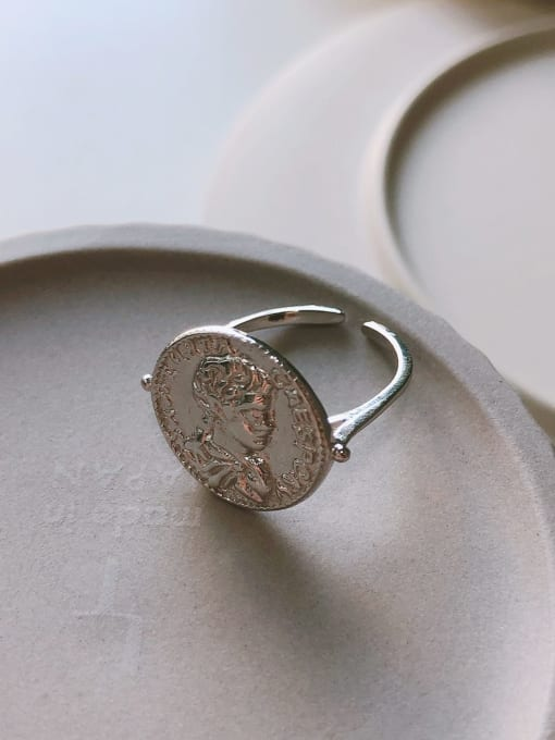 Boomer Cat 925 Sterling Silver Geometric coin Vintage Band Ring 2