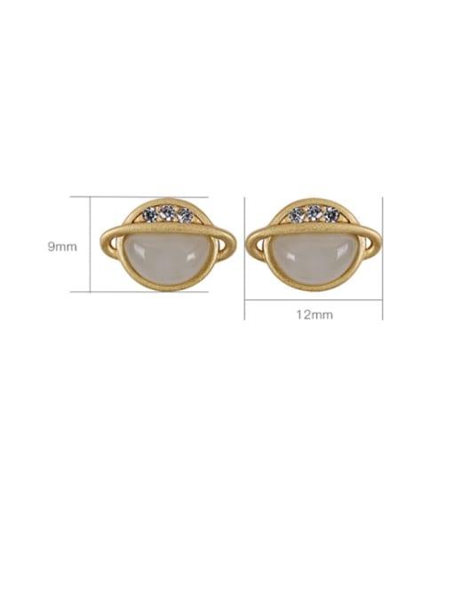 DEER 925 Sterling Silver Jade Star Vintage Stud Earring 3