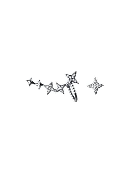 Rosh 925 Sterling Silver Cubic Zirconia Asymmetric  Star Dainty Stud Earring 4