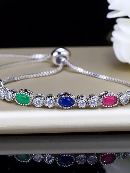 colour Brass Cubic Zirconia Oval Dainty Adjustable Bracelet