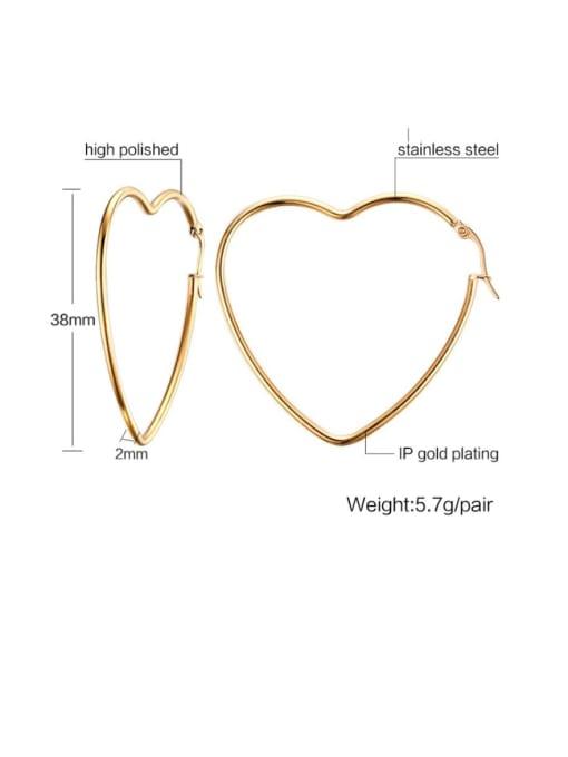 CONG Stainless steel Heart Minimalist Hoop Earring 2