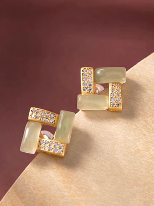 DEER 925 Sterling Silver Jade Square Vintage Stud Earring