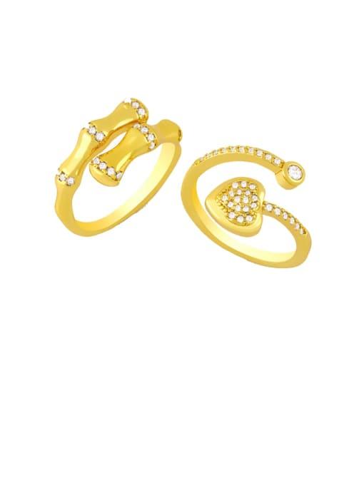CC Brass Cubic Zirconia Heart Minimalist Band Ring