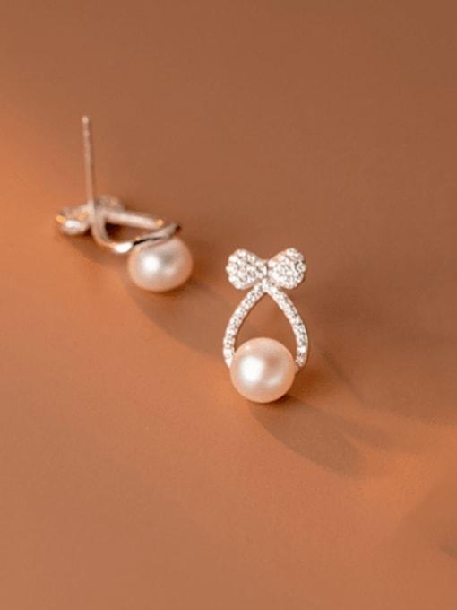 Rosh 925 Sterling Silver Cubic Zirconia Cross Minimalist Stud Earring 2