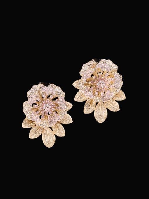 Golden pink Brass Cubic Zirconia Flower Vintage Drop Earring