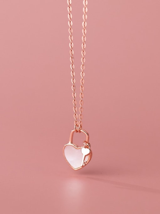Rosh 925 Sterling Silver Shell Heart Minimalist Necklace 2