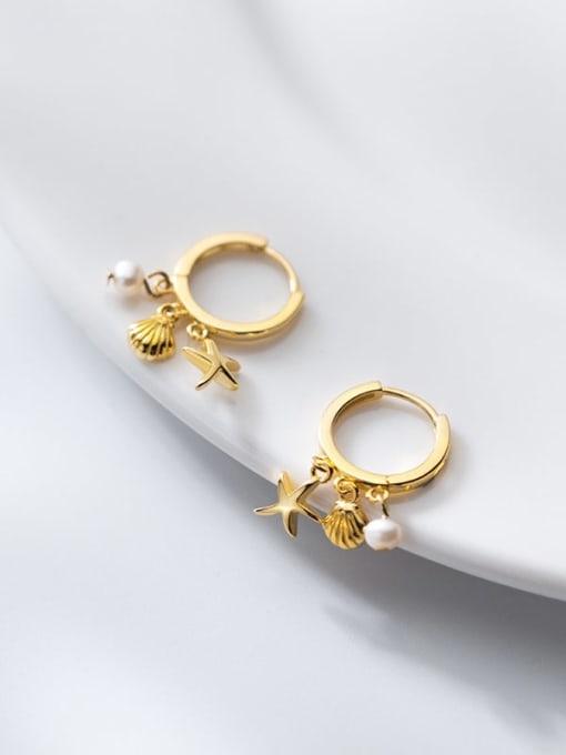 Rosh 925 Sterling Silver Star Cute Huggie Earring