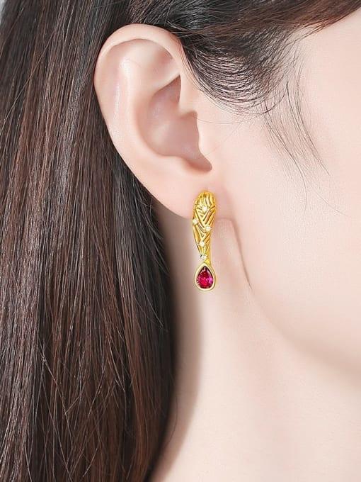 BLING SU Brass Cubic Zirconia Leaf Vintage Stud Earring 1