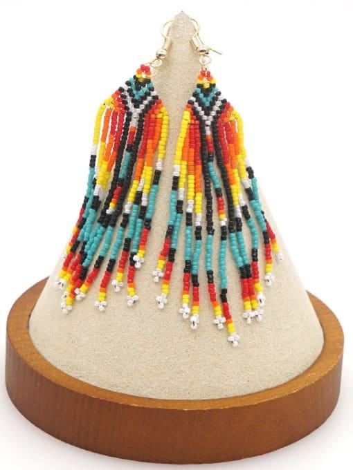 Roxi Stainless steel MGB Bead Multi Color Tassel Ethnic Hook Earring 2