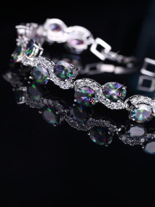 platinum Brass Cubic Zirconia Geometric Classic Bracelet