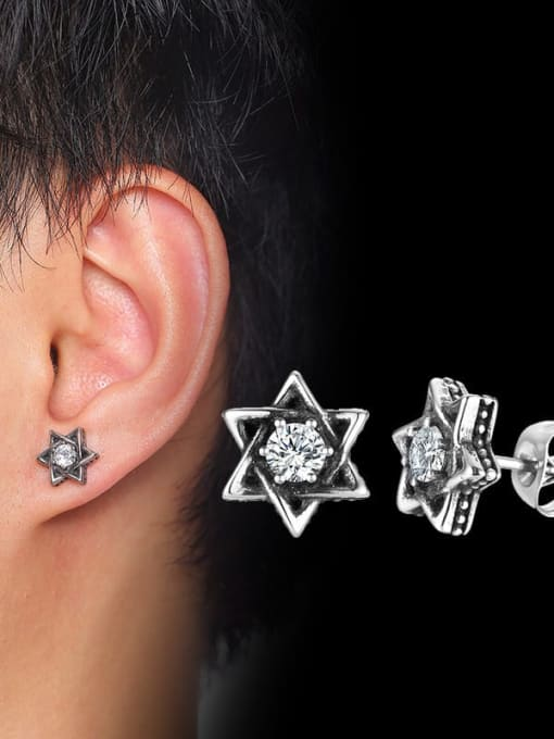 CONG Stainless steel Cubic Zirconia Flower Vintage Stud Earring 1