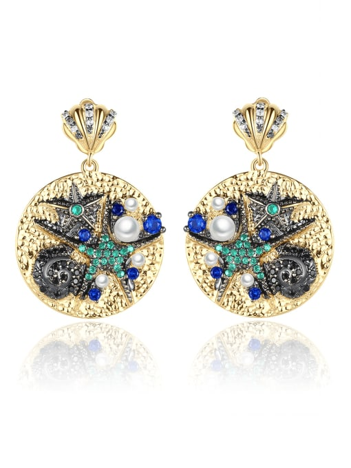 BLING SU Brass Cubic Zirconia Geometric Vintage Drop Earring 0