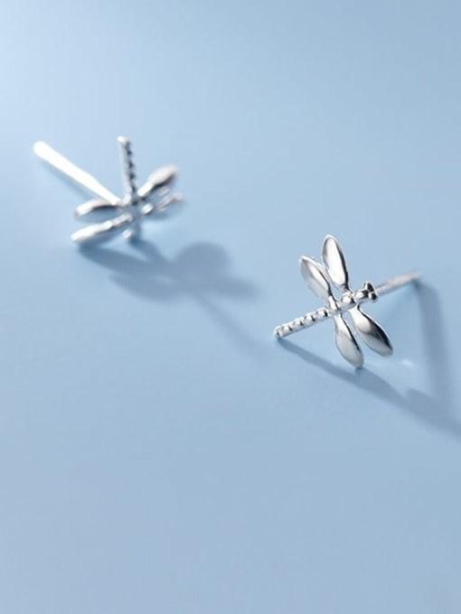 Rosh 925 Sterling Silver Rhinestone Dragonfly Cute Stud Earring 2