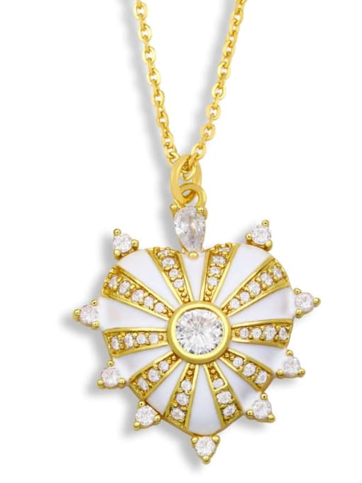 white Brass Cubic Zirconia Enamel Heart Ethnic Necklace