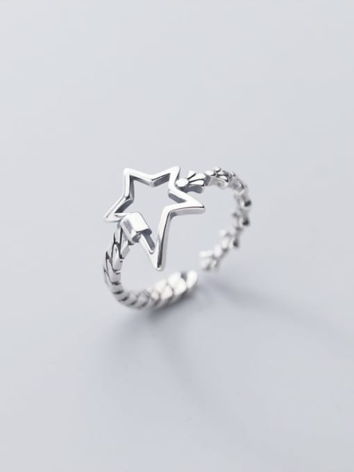 Rosh 925 Sterling Silver hollow Star Vintage Band Ring 3
