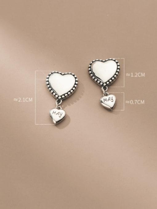 Rosh 925 Sterling Silver Heart Vintage Drop Earring 3