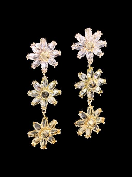 Yellow flower Brass Cubic Zirconia Flower Dainty Drop Earring