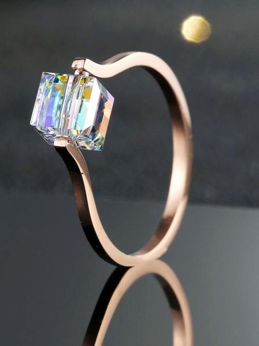MIYA Titanium Steel Cubic Zirconia Square Minimalist Band Ring 2