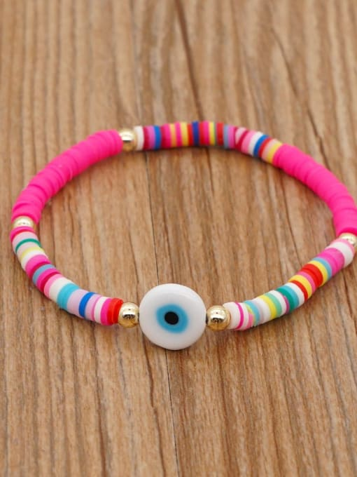 QT B200107B Stainless steel Multi Color Polymer Clay Evil Eye Bohemia Stretch Bracelet