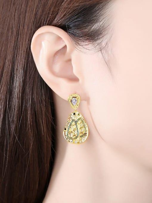 BLING SU Brass Cubic Zirconia Geometric Vintage Drop Earring 1
