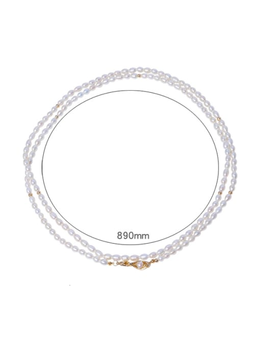 RAIN Brass Freshwater Pearl Round Vintage Multi Strand Necklace 0