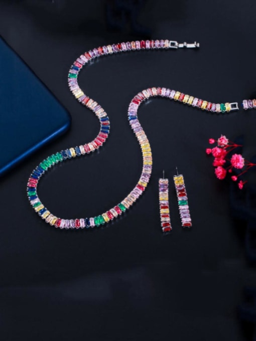 L.WIN Brass Cubic Zirconia  Luxury Tassel Earring and Necklace Set 3