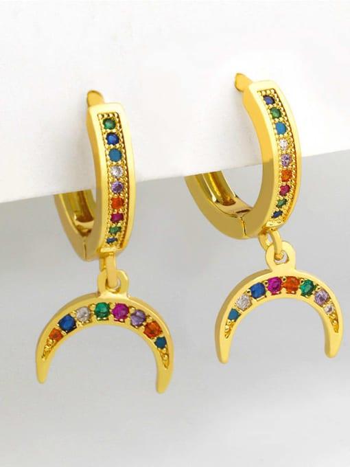 CC Brass Cubic Zirconia Moon Vintage Huggie Earring 3