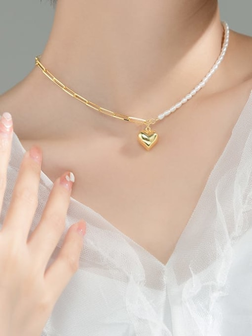Rosh 925 Sterling Silver Imitation Pearl Heart Minimalist  Asymmetry Chain Necklace 1