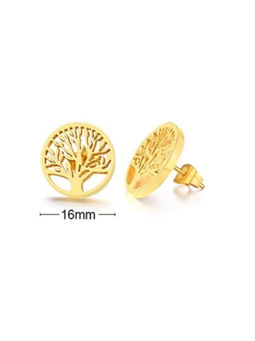 CONG Titanium Steel Hollow Geometric Minimalist Stud Earring 2