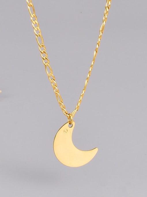 A TEEM Titanium Steel Moon Minimalist Necklace 0