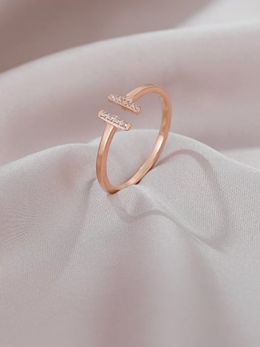MIYA Titanium Steel Cubic Zirconia Geometric Minimalist Band Ring 2
