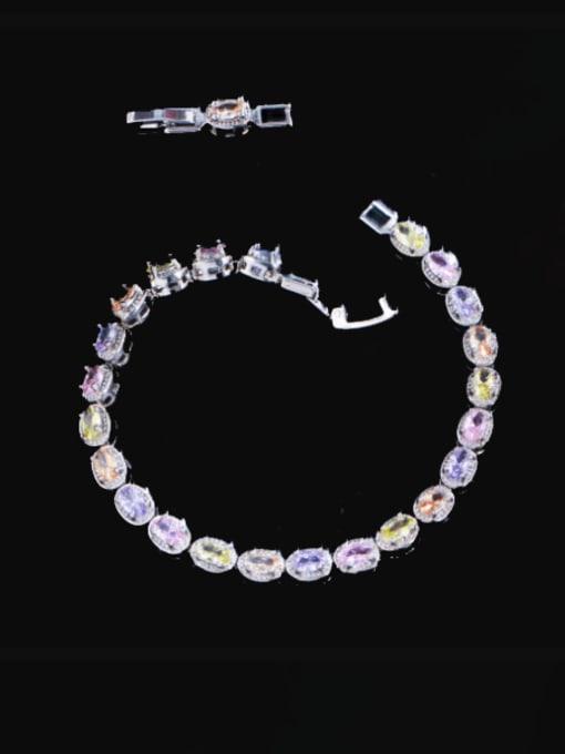 Platinum Brass Cubic Zirconia Geometric Luxury Bracelet