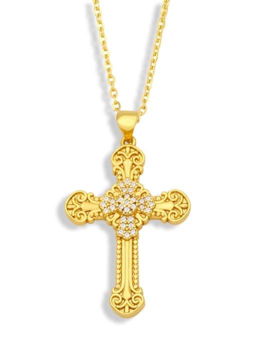 CC Brass Cubic Zirconia Cross Vintage Regligious Necklace 1