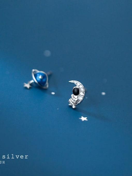 Rosh 925 Sterling Silver Cubic Zirconia Enamel Star Minimalist Stud Earring 1