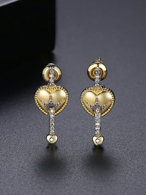 18K T06H07 Brass Cubic Zirconia Heart Vintage Drop Earring