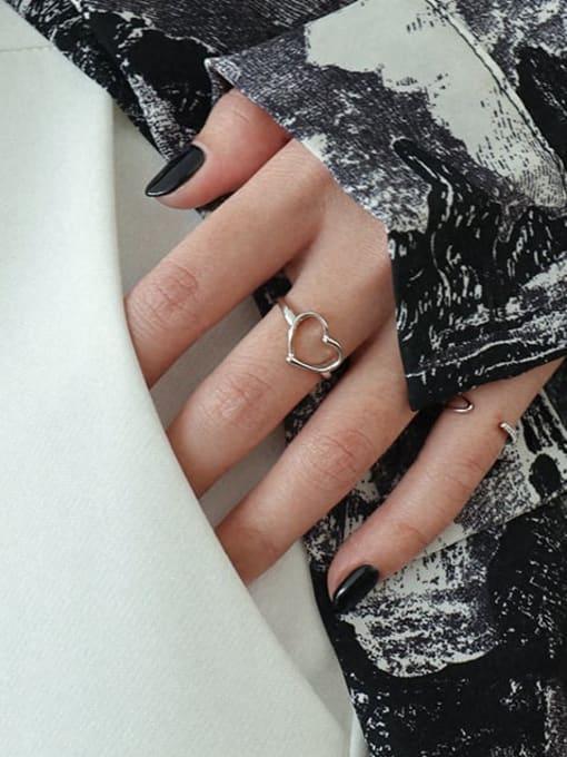 Dak Phoenix 925 Sterling Silver Hollow Heart Minimalist Band Ring 2