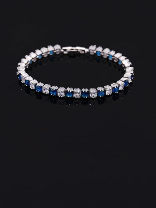 Dark blue 18.2cm Brass Cubic Zirconia Geometric Classic Bracelet