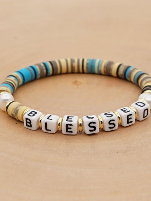 Roxi Stainless steel Freshwater Pearl Multi Color Polymer Clay Letter Bohemia Handmade Weave Bracelet 1