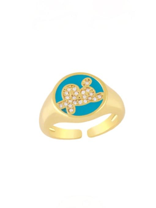 turquoise Brass Enamel Letter Minimalist Band Ring