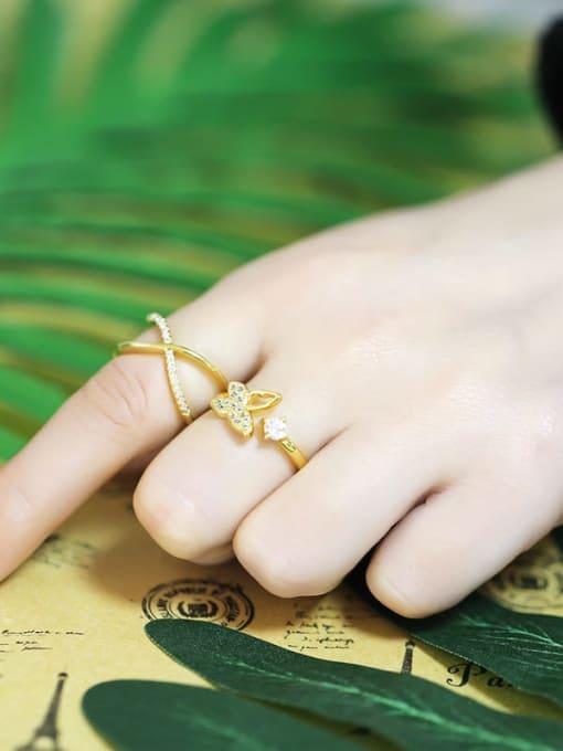 CC Brass Rhinestone Minimalist Double Cross Stackable Ring 3