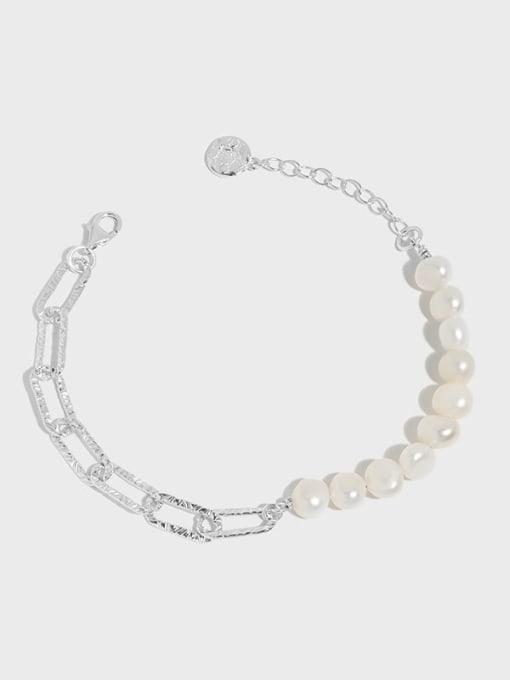 DAKA 925 Sterling Silver Freshwater Pearl Geometric Vintage Link Bracelet