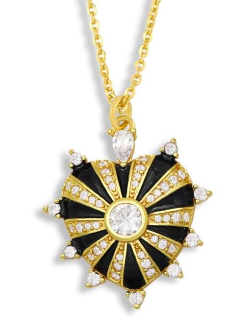 black Brass Cubic Zirconia Enamel Heart Ethnic Necklace