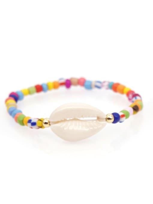 Roxi Stainless steel  Glass Bead Multi Color Smiley Bohemia Stretch Bracelet 3